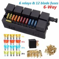 Car Relay Box 6 Relays Blade Fuse Relay Box for Marine boat Universal 12V