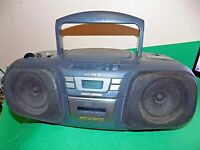 SONY STEREO CD RADIO Portable CASSETTE BOOMBOX MEGA BASS Black CFD-121 Faulty