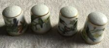 4x Vintage Kaiser Porcelain Exotic Bird Thimbles