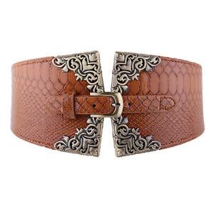 Women Elegant Faux Leather Corset Waistband Retro Elastic Buckle High Waist Belt