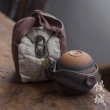 Ceramic Travel Gongfu Tea Set Teapot & Two Teacups In Cotton Bag