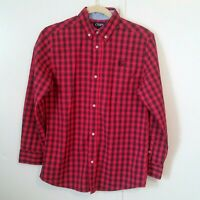 CHAPS Boys Size 14-16 Button Up Long Sleeve Shirt Red Plaid  Multi Color