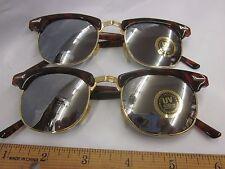 2 Pair Vtg Soho Wayfarer SunGlasses Mirror Lens Frames Faux Tortoise Shell Nos