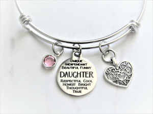 Daughter Charm Bracelet With Birthstone, Gift for Daughter, Daughter Birthday
