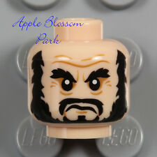NEW Lego Light FLESH MALE MINIFIG HEAD w/Black Pirate Moustache Beard Man Hair