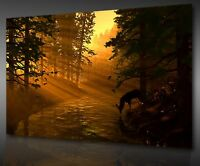 SUNSET DEER DRINKING IN THE FOREST STUNNING BOX CANVAS PRINT WALL ART PICTURE