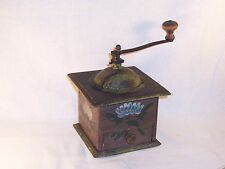 Antique Wood Hand Crank Coffee Grinder Mill Vintage Primitive Kitchen Decor