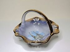 Vintage Ste Anne De Beaupre Quebec Ceramic With Gold Trim Souvenir Basket-VHTF