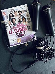Nintendo Wii, u-Sing 2 Spiel inkl. 2 Logitech Mikrofone