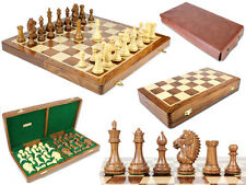 "Biggie Knight Rio Staunton 4"" Chess Pieces Set Board 21x21"" + Algebraic Notation"