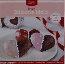 Valentine Chicago Metallic 12 Cavity Silicone Red Hearts Baking Pan Mold NIP