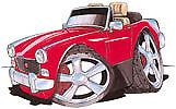 MG Midget Red Cartoon car T-shirt british motor bmc leyland in sizes S-3XL