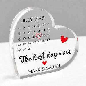 Personalised Engagement Wedding Anniversary Date Gifts Him Her Acrylic Heart