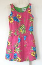 womens LILLY PULITZER dress shift sheath floral 100% cotton casual pockets XS 2