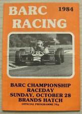 BRANDS HATCH 28 Oct 1984 BARC CHAMPIONSHIP RACEDAY A4 Official Programme