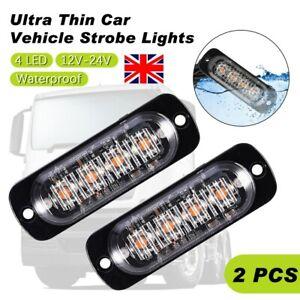 2x Amber 4 LED Car Truck Emergency Beacon Lights Hazard Flash Strobe Bar Warning