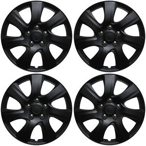 "SET of 4 Hubcaps Fits TOYOTA CAMRY 15"" Universal BLACK MATTE Covers Hub Cap Caps"