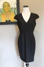 NWT J Crew Petite Cap Sleeve Dress in Italian Wool Crepe BLACK Sz 4 4P P4 B6136