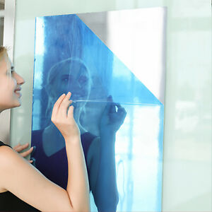 Self Adhesive Mirror Roll 23x39inch Waterproof Stickers Bathroom Room Film Decor