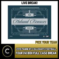 2019 PANINI NATIONAL TREASURES COLLEGE 4 BOX CASE BREAK #F253 - PICK YOUR TEAM