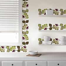 CAMEROON Wall Border Decals Purple Green Leaves Ivy Room Decor Sticker Wallpaper