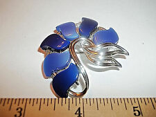 Vintage Thermoset Royal Blues Silver Tone 'Swirl' Brooch Signed 'STAR'
