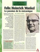 Felix Heinrich Wankel Germany mechanical engineer Piston Car Auto FICHE FRANCE