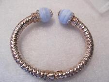 Blue Lace Agate Cuff Italy Sterling Silver Cuff Bracelet 35.4g.