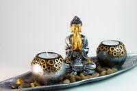 Thai Buddha Teelicht Set 40cm groß Budda Figur Feng Shui Lotussitz Statue  NEU