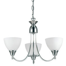 Endon Alton pendant 3x 60W Satin chrome effect plate & matt opal glass