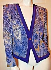 City Girl Nancy Bolen Blue Crinkle  Design Jacket Sz M