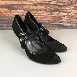 OFFICE London Womens Black Suede Leather Mary Jane Heels Shoes Size 41 UK 8
