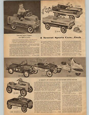 1957 PAPER AD 2 PG Pedal Car Space Cruiser Hot Rod US Army Jeep Camp Wagon Bird