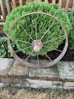 Antique Primitive Cast Iron Industrial Wagon Wheel Steampunk