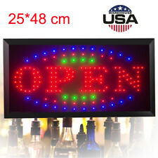 Ultra Bright Led Neon Light Animated Motion w/ On/Off Open Business Sign Good