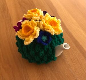 Hand knitted Tea Cosy with colourful crocheted flowers - Daffodils,. Ideal Gift.