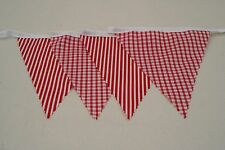 Red and white gingham and stripe Bunting Single sided 4M