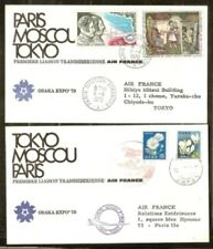 France Japan ROUND TRIP  on 2 cover transsiberian by air france OSAKA 70 VF