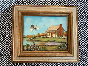 "Marcella Packard Oil Painting Bayou home with mailbox ""REES"""