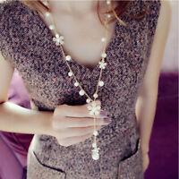 1pcs Womens Daisy Pearl Tassel Long Necklace Flower Pendant Sweater Link Chain