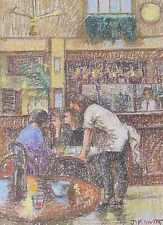 Stylish James V Horton Original Pastel Painting - People At Browns In Cambridge