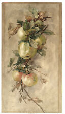 Early 20th C Cleveland School Watercolor, Apples on a Branch Still Life, 21 x 11