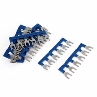 10 Pcs TB2506 Blue 6 Positions Pre Insulated Fork Terminal Strip Block 400V 10A