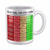 Survival Tips For Men Funny Novelty Gift Mug