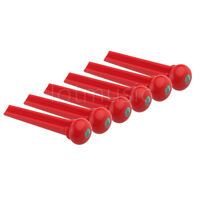 6 Pcs Red Acoustic Guitar Bridge Pin W/Abalone Dot Inlay Plastic Slotted
