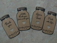 15 Personalized Wedding /Bridal Shower Favor Tags Mason jars Your name & message