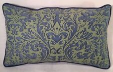 """Fortuny Sevres Prune Blue and Green Cotton Designer Pillow 14""""x 21"""""""