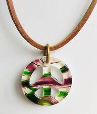 Vintage 1960's Bohemian Art Glass Peace Sign Symbol Pendant Hippie Necklace