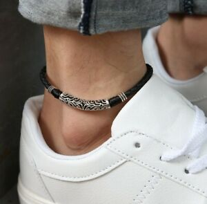 Women/ Men Genuine Leather Lucky Star Pipe Black Rope Anklet Bracelet One Size