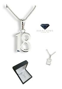 White gold finish special 18th birthday pendant necklace free postage gift box